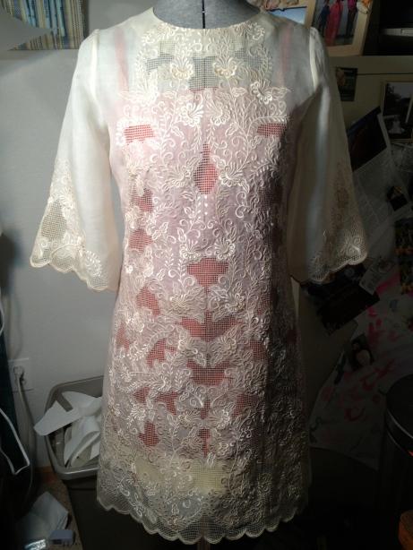 Piña Fabric Overlay with Silk Dress